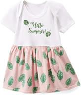 Beary Basics Pink & Green 'Hello Summer!' Skirted Bodysuit - Infant