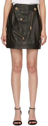 Versace Black Leather Miniskirt