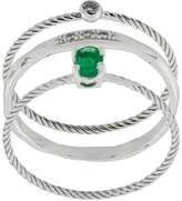Wouters & Hendrix Gold Emerald & Diamond set of three rings