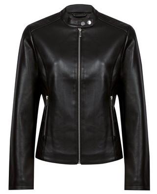 Dorothy Perkins Womens Black Faux Leather Collarless Biker Jacket, Black
