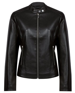 Dorothy Perkins Womens Black Faux Leather Collarless Biker Jacket, Black
