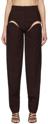 Y/Project Burgundy Cut-Out Trousers