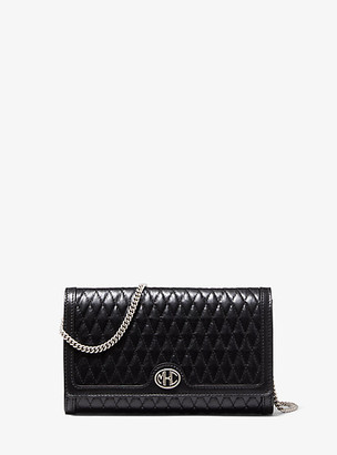 Michael Kors Collection MK Monogramme Quilted Leather Clutch - Black - Michael Kors