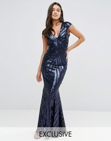 Club L Cap Sleeve Maxi Dress with Fishtail in Patterned Sequin