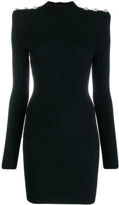 Balmain Square-Shoulder Ribbed Dress
