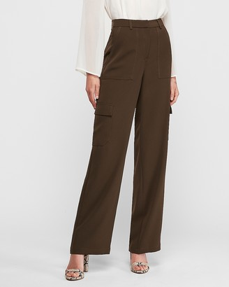 Express Super High Waisted Wide Leg Utility Cargo Pant