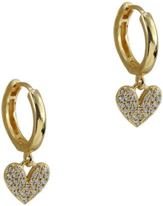 Argento Vivo 18K Over Silver Cz Heart Charm Huggie Earrings