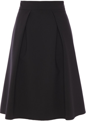 Carolina Herrera Pleated Wool-blend Crepe Skirt
