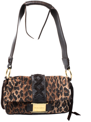 Dolce & Gabbana Brown Fabric and Leather Shoulder Bag
