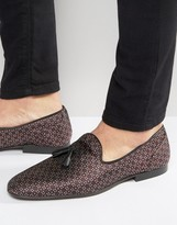 Asos Loafers In Jacquard Print With Tassel