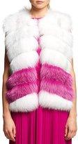 Oscar de la Renta Fox Fur Chiffon-Trim Vest