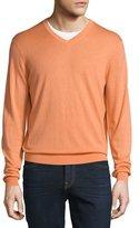 Neiman Marcus Cashmere-Silk V-Neck Sweater, Orange