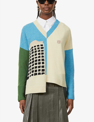 Loewe x Ken Price asymmetric wool jumper
