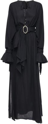Balmain Gathered Cotton Dress W/ Belt