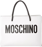 Moschino Logo Print Leather Square Tote