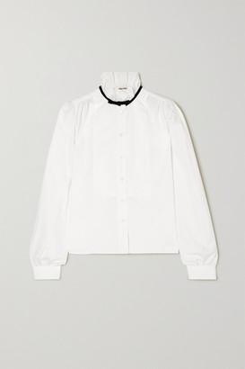 Miu Miu Bow-detailed Cotton-poplin Blouse - White