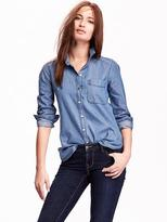 Women Lightweight Chambray Shirt - ShopStyle