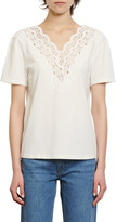 Sandro Anais Lace Trim T-Shirt