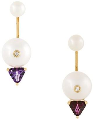 Delfina Delettrez 18kt gold Trillion diamond, pearl and topaz earrings