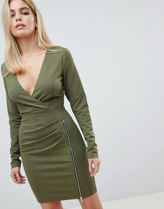 Asos Design DESIGN mini dress with ruched zip side-Green