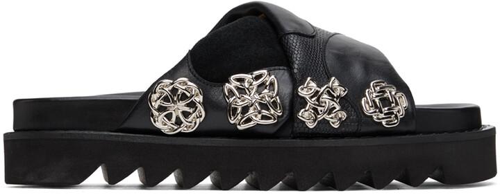 Toga Pulla Black Embellished Platform Flat Sandals
