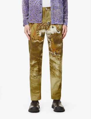 Dries Van Noten Tiger-print straight jeans