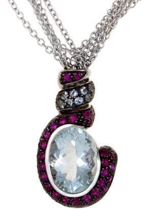 Generic Gemstones 18K 10.52 Ct. Tw. Ruby & Aquamarine Necklace
