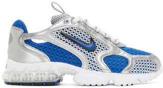 Nike Silver and Blue Air Zoom Spiridon Cage 2 Sneakers
