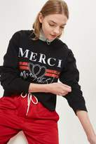 Topshop 'Merci' Cropped Sweatshirt