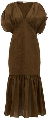 Marysia Swim Monterey Ruched Seersucker-cotton Dress - Womens - Dark Brown
