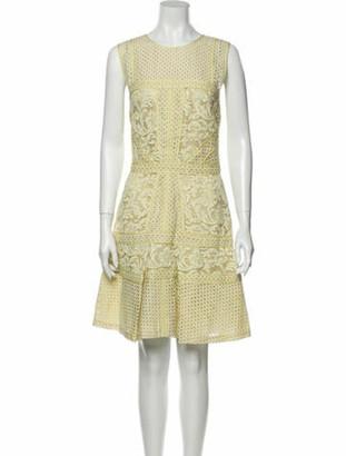 J. Mendel Lace Pattern Knee-Length Dress Green