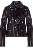 Maje Textured Patent-Leather Biker Jacket