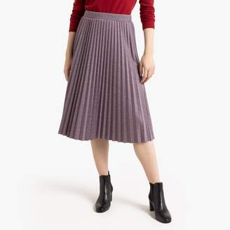 Benetton Mid-Length Pleated Skirt with Houndstooth Print