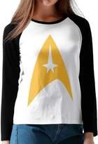 PAIOWCR Women's Star Trek Logo 3/4 Long Sleeve Raglan T-Shirtcolorname