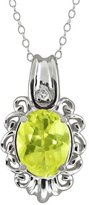 Gem Stone King 2.27 Ct Oval Yellow Lemon Quartz and White Topaz 14k White Gold Pendant