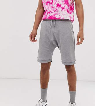 Asos Design DESIGN Tall jersey drop crotch shorts in gray marl
