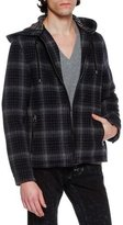 Lanvin Check Plaid Virgin Wool Zip-Front Hoodie Jacket, Navy