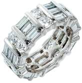 Platinum with 3.50ct Round Baguette Diamond Wedding Band Ring Size 5