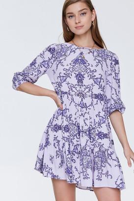 Forever 21 Ornate Floral Print Swing Dress