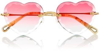 Chloé Heart Shaped Gradient Lens Sunglasses - Pink
