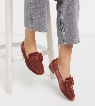Asos DESIGN Wide Fit Mable bow loafers in rust velvet