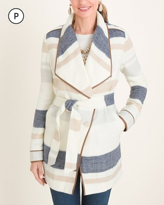 Chico's Petite Plush Striped Blanket Trench Coat