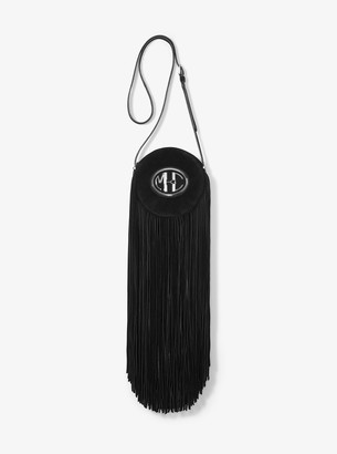 Michael Kors Collection Monogramme Suede Fringed Canteen Crossbody Bag