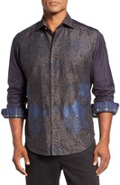Robert Graham Snowflake Jacquard Sport Long Sleeve Classic Fit Shirt