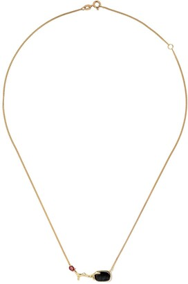 Wouters & Hendrix Gold 18kt yellow gold Blue Tiger Eye & Garnet necklace