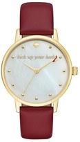 Kate Spade 'metro - Stiletto' Round Leather Strap Watch, 34mm