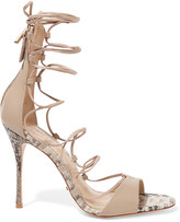 Schutz Leila snake-effect and smooth leather sandals
