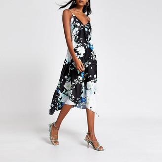 River Island Black floral hanky hem midi slip dress