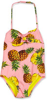 Dolce & Gabbana One-Piece Halter Pineapple Swimsuit, Pink, Size 4-6