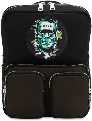 Prada Frankenstein Print Soft Nylon Backpack